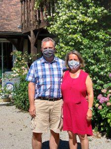 Christine et Vincent avec masques